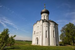 Ancient church of Intercession on Nerl River, Russia Royalty Free Stock Photo