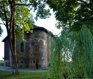 Ancient church of Kolozha stock images