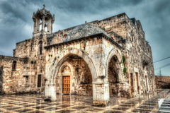 Ancient Church in Lebanon. Details of the ancient Saint Johns Church in Byblos, Lebanon on a rainy overcast day Royalty Free Stock Image