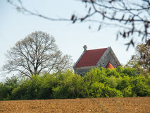 Ancient church lost in fields Royalty Free Stock Photography