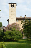 Ancient church in a medieval village in the Brescia countryside Stock Photo