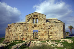 Ancient church on the Mediterranean coast Royalty Free Stock Image
