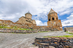 Ancient church on Mount Kazbek in Georgia. Beautiful church on georgian Mount Kazbek shoot in summer Royalty Free Stock Photography