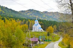 Ancient church between mountains and forests. Russia royalty free stock photos