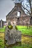 The ancient church. The ruins of the ancient church. Old cemetary. Rough texture Stock Photography