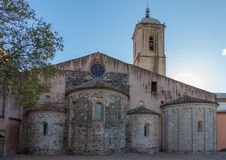 Ancient church in a small Spanish village Amer, in Catalonia in Spain.  Stock Image