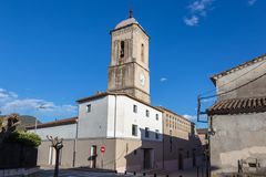 Ancient church in a small Spanish village Amer, in Catalonia in Spain.  Stock Photography