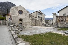 The ruined church of St. John the Baptist in Venzone stock photography