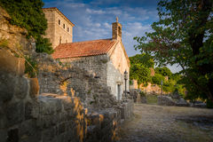 Ancient church of St Jovan in the Old Bar fortress Stock Image
