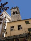 Ancient Church Tower in Corfu town on the Greek Island of Corfu. The city of Corfu stands on the broad part of a peninsula, whose termination in the Venetian Stock Photos