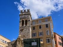 Ancient Church Tower in Corfu town on the Island of Corfu. The city of Corfu stands on the broad part of a peninsula, whose termination in the Venetian citadel Royalty Free Stock Photography