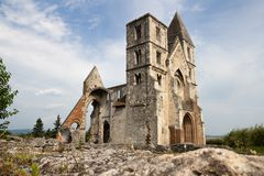 The medieval ruin church in Zsambek, Hungary, wide viewing angle royalty free stock photos