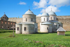 Ancient churches of Ivangorod fortress, sunny september day. Leningrad region, Russia Stock Image