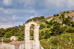 Ancient churches in Palaia Chora, Aegina, Greece. A view of remains of medieval capital of Aegina Island, Saronic Islands, Greece Stock Image