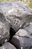 Ancient circular petroglyph Stock Photo