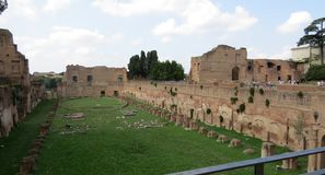 The ancient Circus Maximus. Ruins of rome. royalty free stock photography