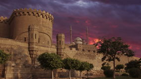 Ancient Citadel, and beautiful clouds. Time lapse. Cairo. Egypt. stock footage