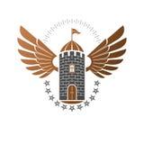 Ancient Citadel emblem. Heraldic vector design element. Retro st Royalty Free Stock Images