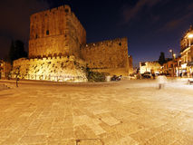Ancient Citadel inside Old City at Night, Jerusalem Royalty Free Stock Image