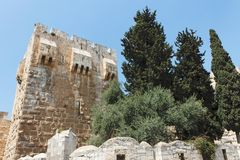 Ancient citadel and Tower of David in Jerusalem Stock Photos