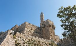 Ancient citadel and Tower of David in Jerusalem Stock Images