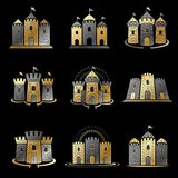 Ancient Citadels emblems set. Heraldic vector design elements co Stock Photo