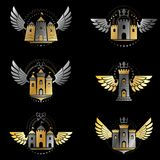 Ancient Citadels emblems set. Heraldic vector design elements co Stock Images
