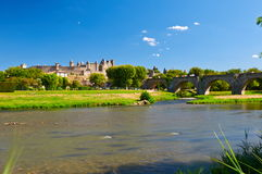 The ancient Citte of Carcassonne in France. And Aude River Stock Photos