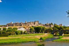 The ancient Citte of Carcassonne in France. And Aude River Royalty Free Stock Photos