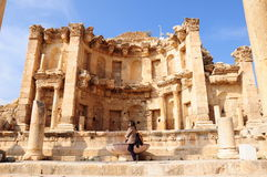 Ancient city. A tourist at an ancient city in Jordan Royalty Free Stock Image