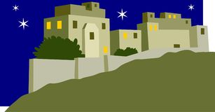 Ancient City. By night illustration Royalty Free Stock Image