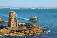 The ancient city of Akko, a tourist boat Stock Images