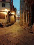 Ancient city area. Of Orense Galicia Spain illuminated sunset royalty free stock image