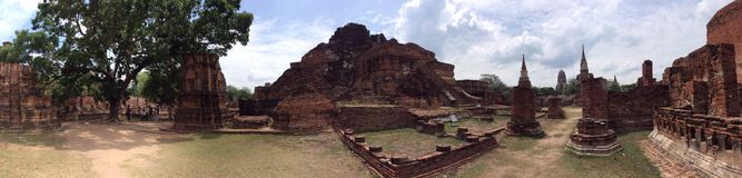 Ancient city Ayutthaya panorama view. Panoramic view of war mahatat in Ayutthaya Royalty Free Stock Photo