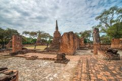 Ancient city of Ayutthaya, Thailand. (Wat Phra Sri Sanpetch). View of ancient city of Ayutthaya, Thailand. (Wat Phra Sri Sanpetch Stock Photo