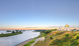 The ancient city on the banks of the Volga - of Bolgar or Bulga. Panoramic view of the Volga and the landmarks of the ancient city Bolgar or Bulgar at sunset stock images
