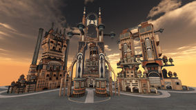 Ancient city. 3D rendered illustration of ancient city during sunset Royalty Free Stock Image