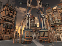 Ancient city. 3D rendered illustration of ancient city during sunset Royalty Free Stock Photo