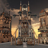 Ancient city. 3D rendered illustration of ancient city during sunset Stock Photography