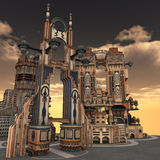 Ancient city. 3D rendered illustration of ancient city during sunset Stock Images