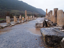 Ancient City of Ephesus. The ancient city of Ephesus located near the Aegean, home to the Temple of Artemis, one of the Seven Wonders of the World Stock Image