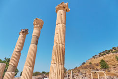 The ancient city of Ephesus. Unusual ruins in Turkey near the fa Stock Photos