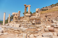 The ancient city of Ephesus. Unusual ruins in Turkey near the fa Royalty Free Stock Photo