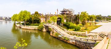 Ancient city gate-Pan Gate. The Pan gate was one of Main gate in ancient Suzhou city. It is consists of water gate and land gate. Suzhou city is one of the old royalty free stock photo