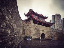 Ancient city gate tower. Dong Men gate tower in Liuzhou China,founded in 12 years of the Ming Dynasty Hongwu 1379 Royalty Free Stock Image