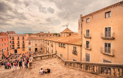 Ancient city - Girona, Square of the Cathedral. Girona, Catalonia, Spain - August 18, 2015: Stairway of the Cathedral of Saint Mary (Santa Maria) and old Stock Photography