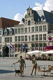 Ancient city hall and recreation in Bergen op Zoom. The Netherlands, Province Noord Brabant, City Bergen op Zoom: On the Grote Markt is the old, medieval, town Stock Image