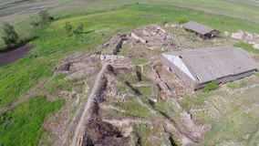 Ancient city of Halmyris, aerial perspective stock footage