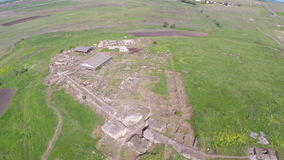 Ancient city of Halmyris, aerial perspective stock video