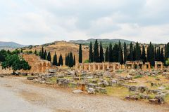 Ancient city Hierapolis in Pamukkale, Turkey royalty free stock photos